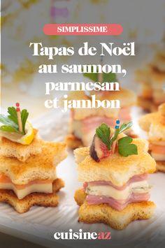 Une idée d'apéritif pour Noël à préparer avec les enfants : des tapas de Noël au saumon, parmesan et jambon. #recette#cuisine#tapas#saumon #parmesan #jambon #enfant #noel#fete#findannee #fetesdefindannee Parmesan, Waffles, Brunch, Breakfast, Table, Gourmet, Tapas Recipes, Smoked Salmon, Morning Coffee