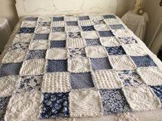 Handmade Dark Blue and White Vintage Chenille Bedspread Fabric w/ Cotton Rag Quilt