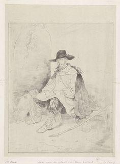 Jacobus Ludovicus Cornet | Rustende reiziger, Jacobus Ludovicus Cornet, 1851 | Een reiziger rust uit voor de ingang van een grot. Naast hem een hond. De man draagt een mantel en een hoge hoed.
