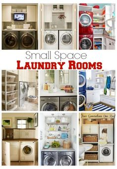 Small Space Laundry Room Ideas- A small space laundry room makeover in a closet. A roundup of stylish small space laundry rooms featuring counter tops, shelves and sorting stations. Room Makeover, Laundry In Bathroom, Room Design, Laundry Mud Room, Small Spaces, Basement Laundry Room, Home, Room Remodeling, Laundry