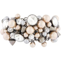 Henri Bendel Nolita Pearl Shaky Cuff (250 AUD) ❤ liked on Polyvore featuring jewelry, bracelets, lt pink, cuff bracelet, pink bracelet, ear cuff jewelry, pink bangles and white pearl bracelet