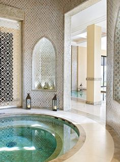 Go to a Modern Moroccan Hammam (Sauna). Home Design, Spa Design, Interior Design, Design Interiors, Luxury Interior, Design Ideas, Moroccan Design, Moroccan Style, Modern Moroccan Decor