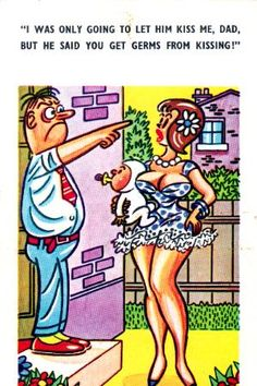 "Postcards of the Past - Vintage Comic ""Seaside"" Postcards Adult Cartoons, Sexy Cartoons, Adult Humor, Funny Cartoon Pictures, Cartoon Jokes, Funny Postcards, Vintage Postcards, Old Comics, Vintage Comics"