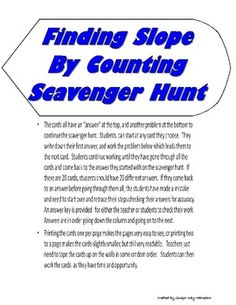 The Finding Slope By Counting Scavenger Hunt was created by Ginger Kay Hampton for an Algebra 1 classroom for a Slope Unit.  Students will practice...