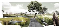 DELVA Landscape Architects & Plusoffice Architects win Leiemeersen competition is part of Landscape architecture graphics - The chief ambition is the realisation of an attractive village ring that connects Kuurne with its valuable open space Collage Architecture, Villa Architecture, Architecture Graphics, Architecture Drawings, Landscape Architecture Perspective, Classical Architecture, Ancient Architecture, Sustainable Architecture, Landscape Plans