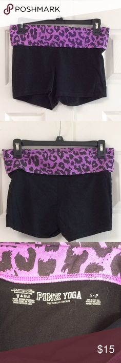 Pink Yoga Shorts Purple and black animal print fold down shorts.fabric is 87% cotton 13% elastane.  *Gently washed and worn.  *Condition: Good, used, functional could be one/few minor flaws. No noticeable rips or stains. We try to note every flaw but sometimes we miss the smallest ones please be aware of this before purchasing a used item. PINK Victoria's Secret Shorts