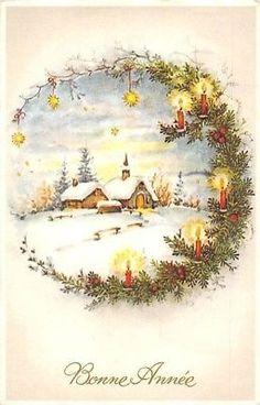 Happy New Year! Christmas Scenes, Christmas Art, Beautiful Christmas, Winter Christmas, All Things Christmas, Christmas Decorations, Victorian Christmas, Homemade Christmas, Vintage Cards