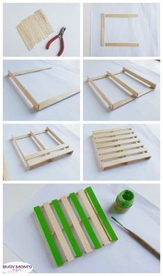 DIY Popsicle Stick Coasters / a fun craft for adults, kids, teens or anyone! for adults DIY Popsicle Stick Coasters - Busy Moms Helper Popsicle Stick Coasters, Diy Popsicle Stick Crafts, Fun Diy Crafts, Popsicle Sticks, Craft Sticks, Decor Crafts, Holiday Crafts, Kids Crafts, Paint Stick Crafts
