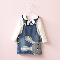 Cheap girls jean dress, Buy Quality baby girl jeans dress directly from China girls princess Suppliers: 2016 baby girl jean dress child clothing set children clothes suits kids girls princess bunny denim dresses + girl blouse Little Girl Dresses, Girls Dresses, Jean Overall Dress, Baby Girl Jeans, Girls Long Sleeve Tops, Girls Blouse, Girls Denim Dress, Jeans Dress, Denim Dresses