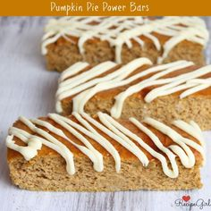 Pumpkin Pie Power Bars #recipe :: a homemade, healthy grab-and-go kind of bar.  These freeze well too.  127 calories and 12 grams of protein per bar.  Great after-school snack and the adults love them too!