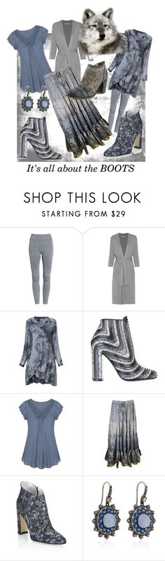 """""""Beautiful Gray"""" by farradaymg ❤ liked on Polyvore featuring Onzie, Halston Heritage, Salvatore Ferragamo, Manolo Blahnik, Nam Cho, Spring Step, Blue, grey and gray"""