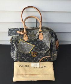3036a24de2fe Louis Vuitton Limited Edition Grey Denim Monogram Denim Patchwork Bowly Bag  Rare  LouisVuitton  HandBag