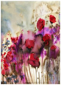 Poppies. 12x9 Original Watercolor Painting. 32x24
