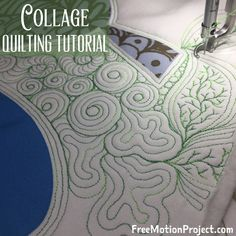 Learn how to quilt many designs together in collage quilting style on a sit down longarm quilting machine.