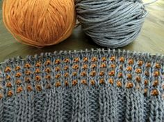 💕 💫 💕 💫 Colors orange and grey. The autumn feeling of wool. The orange InSilk, the grey Alb Merino wool felted yarn from Schoppel wool. Knitting Stitches, Knitting Socks, Free Knitting, Stitch Patterns, Knitting Patterns, Crochet Patterns, Knitted Booties, I Cord, Color Games