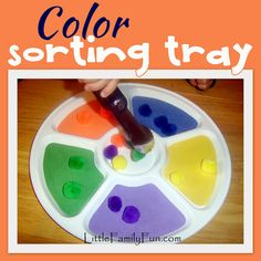 Easy sorting activity for toddlers. Sort colors using a veggie-tray!