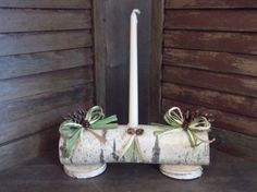 Your place to buy and sell all things handmade Christmas 2014, Christmas Ideas, Christmas Crafts, Log Centerpieces, Log Candle Holders, Yule Log, Winter Solstice, All The Way Down, Crepe Paper