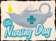 Retro Postcard with Lit Oil Lamp for Nursing Day