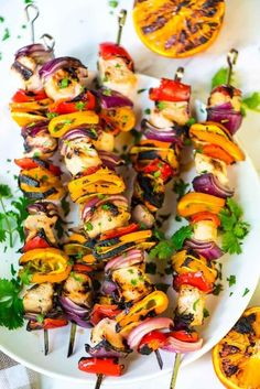 Easy Grilled Orange Chicken Kabobs. A 3-ingredient orange, soy sauce and honey marinade makes the chicken so flavorful and tender! Grilled to perfection with fresh veggies, this recipe is a simple, healthy dinner that's perfect for busy nights. Recipe at wellplated.com | @wellplated