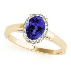 Oval Solitaire Engagement Rings - Ct Oval Tanzanite Solitaire Ring in Yellow Gold with 18 round Diamonds. Oval Solitaire Engagement Ring, Tanzanite Engagement Ring, Tanzanite Rings, Engagement Rings, Round Diamonds, Heart Ring, Sapphire, Yellow, Gold