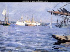 The Battleship Baltimore In Stockholm Harbor - Anders Zorn - www.anderszorn.org