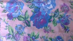 Blue and Purple Roses on Pink Fabric 2 by DebUpcyclesSupplies