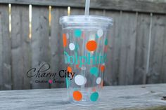 Miami Dolphins Inspired Plastic Tumbler Personalized on Etsy, $14.00
