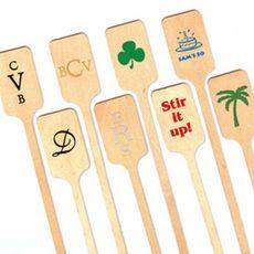 Personalized Rectangle Top Wood Stir Sticks