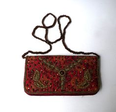 Vintage 1960s boho red brocade and brass and glass by evaelena, $28.00