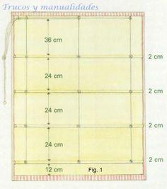 Marca con la plancha un dobladillo de 6 cm a ambos lados del forro. Empezando por el borde inferior del estor, mides la distancia hasta la línea de costura de la primera jareta. Esta distancia será la prevista para separar las diferentes jaretas divididas por 2. Por ejemplo, si la separación entre jaretas es de 24 cm, dispones la primera línea de costura a 12 cm y la segunda a 14 cm. La separación entre ambas líneas de costura ha de ser de 2 cm para acomodar las varillas (Fig. 1).