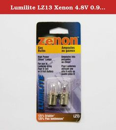 Lumilite LZ13 Xenon 4.8V 0.9A Gas Flange Base Bulb for 6-Volt/4D Cell Flashlight, 2-Pack. Flange base. Two piece value pack. Xenon gas. 4.8V 0.9A for use with 4D cell/6V Xenon flashlight. Lumilite brand.