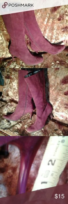 "Kinky Boots BCBGIRL Boots Mid-Calf. Suede Burgundy side Zip, Whipped Stitch look on toe and side of boot. 3-1/2"" Spiked heel Generous size 8-1/2. Shows some wear on bottom and one light spot on calf towards the back. Comfortable enough worn once to work. BCBGIRL Boots Shoes Heeled Boots"