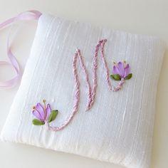 ribbon needlework | Letter M Lavender Sachet personalized monogram silk ribbon embroidery