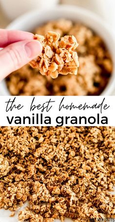 Large crunchy clusters filled with vanilla flavor and lightly sweetened with honey (or maple syrup) this is the BEST homemade Vanilla Granola recipe! Gluten-free, dairy-free, with an easy vegan option. Granola Sin Gluten, Vegan Granola, Granola Recipe Coconut Oil, Vanilla Granola Recipes, Homemade Granola Recipes, Granola Recipe With Maple Syrup, Homemade Sugar Free Granola, Oatmeal Granola Recipe, Breakfast