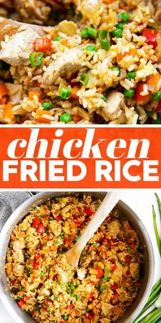This Easy Chicken Fried Rice is one of our favorites: It's ready in just 30 minutes, full of healthy vegetables and kid-friendly, too. Tastes restaurant quality! | #recipe #easyrecipe #easyrecipesforbeginners #easyrecipedinner #easyrecipeideas #chickenfriedrice #chickenfoodrecipes #chickenrecipe #chickenbreastrecipes #dinnerideas #dinnerrecipe #takeoutfakeout