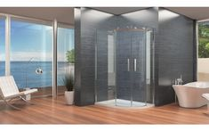 Frameless Offset Quadrant Enclosure With Sliding Doors 1200 x - Kaso 8 by Voda Design Thick) Family Bathroom, Modern Bathroom, Quadrant Shower Enclosures, Clean Technology, Safety Glass, Metal Bar, Double Doors, State Art, Sliding Doors