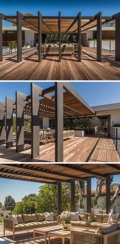 This large pergola has enough space for a large outdoor lounge and dining area. - This large pergola has enough space for a large outdoor lounge and dining area. Outdoor Shade, Outdoor Pergola, Backyard Pergola, Outdoor Lounge, Outdoor Areas, Outdoor Rooms, Outdoor Living, Pergola Lighting, Iron Pergola