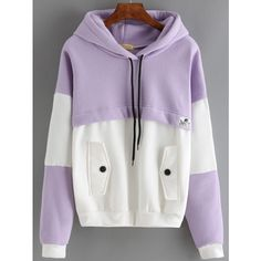 Color-block Hooded Drawstring Sweatshirt With Pocket (£9.17) ❤ liked on Polyvore featuring tops, hoodies, sweatshirts, purple, hoodies pullover, purple sweatshirt, pullover hooded sweatshirt, pullover hoodie sweatshirt and sweatshirt hoodies