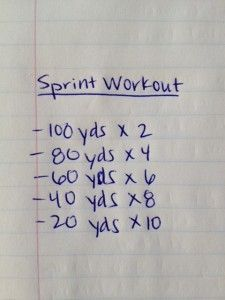 Or just incorporate these into an interval sprint pyramid workout.  Good for soccer, lacrosse, rugby, basketball, and running from cougars in the mountains (be sure to zig zag)  : )