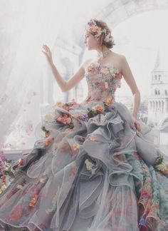 Dreamy Grey Wedding Dress For the Romantic Bride! Ball Dresses, Ball Gowns, Evening Dresses, Prom Dresses, Elegant Dresses, Pretty Dresses, Formal Dresses, Fairytale Gown, Princess Fairytale