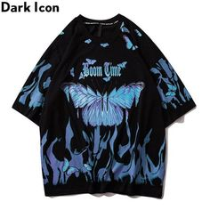 Butterfly Shirts, Blue Butterfly, Butterfly Print, Top Streetwear Brands, Swagg, Look Cool, Online Shopping Clothes, Aesthetic Clothes, Blue Aesthetic