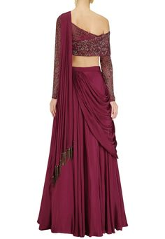 Dheeru & Nitika presents Red Wine crepe hand embroidered lehenga set available only at Pernia's Pop Up Shop. Indian Gowns Dresses, Indian Fashion Dresses, Indian Designer Outfits, Designer Dresses, Designer Wear, Saree Gown, Lehnga Dress, Dhoti Saree, Lehenga Skirt