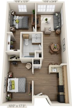 apartment floor plans Homes Container Building Plans 36 2 Bedroom House Plans, Sims House Plans, House Layout Plans, Small House Plans, House Floor Plans, Layouts Casa, House Layouts, Small Apartments, Small Spaces