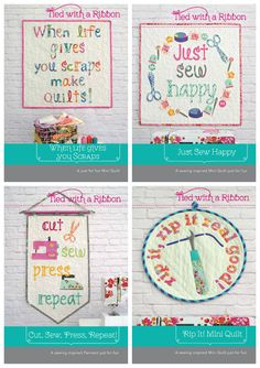 Sewing Quote Mini Quilt Bundle (all four patterns included), patterns by Tied with a Ribbon. Beautiful to hang in your sewing space, make for a gift or perfect to use for Quilt Swaps. Sewing Quote Quilt, fabrics are Tula Pink All Stars, Tula Pink Slow and Steady and Tula Pink Spirit Animal