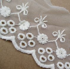 10 yards 3' Wide White Cotton Embroidery Floral Lace trim ** You can get additional details at the image link.