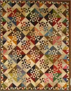 Pinwheel Garden - quilt pattern - by Primitive Gatherings at The Calico Cottage Quilt Shop, your home for premium quilt fabric, patterns, and notions Scrappy Quilts, Quilting, Mini Quilts, Laundry Basket Quilts, Laundry Baskets, Half Square Triangle Quilts, Pinwheel Quilt, Miniature Quilts, Primitive Gatherings
