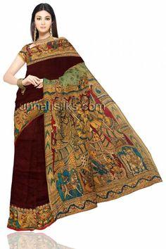Sizzling wedding vegetable dyed brown dupion silk kalamkari hand pen painting saree