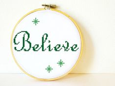 Counted Cross stitch Pattern PDF. Instant download. Believe. Includes easy beginner instructions.