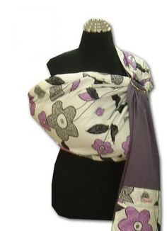 4f9cf73c546 Palm   Pond Baby Ring Sling in Purple Grey with Floral Pattern