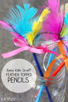 Pencil Crafts for Kids: Easy Feather Topped Pencils